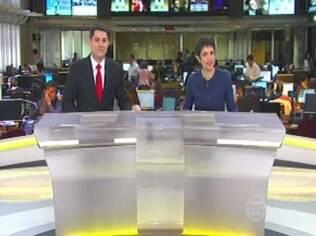 Sandra Annenberg e Evaristo Costa durante o 'Jornal Hoje'