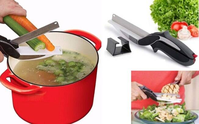 Tesoura tábua de corte - fatia legumes e verduras; R$ 27,89