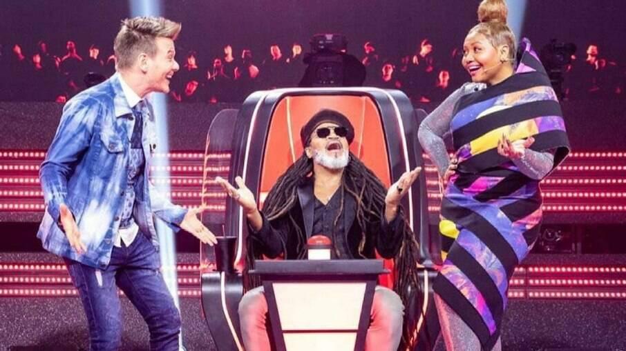 Michel Teló, Carlinhos Brown e Gaby Amarantos no The Voice Kids