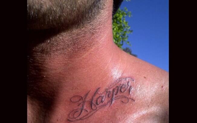 David Beckham e a tatuagem para sua caçulinha