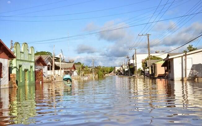 A cidade de Taraucá: prefeito diz que nunca choveu tanto. Foto: Asscom Prefeitura de Tarauacá
