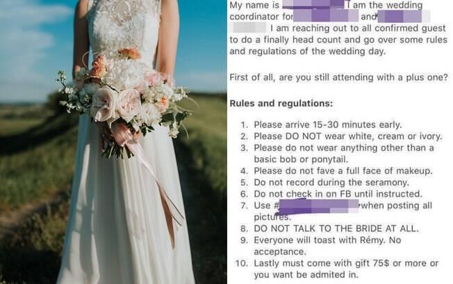 Noiva proíbe convidados de falarem com ela no casamento