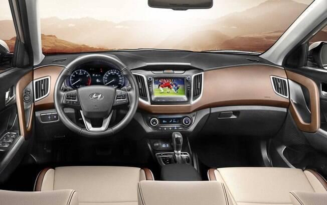 O interior do Hyundai Creta Prestige da linha 2020 segue as novidades do modelo Diamond, do Salão do Automóvel
