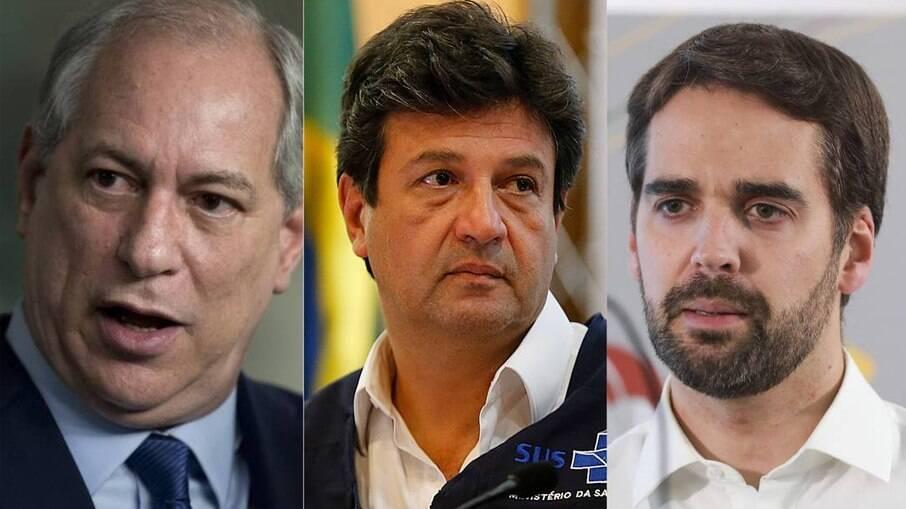 Os pré-candidatos à Presidência Ciro Gomes, Luiz Henrique Mandetta e Eduardo Leite