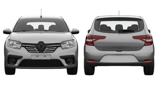 Registro de patente do Renault Sandero, revelando o novo visual da dianteira e traseira