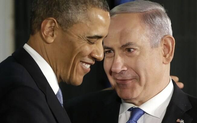 Presidente dos EUA, Barack Obama, e premiê israelense, Benjamin Netanyahu, são vistos durante coletiva em Jerusalém (20/3/2013)
