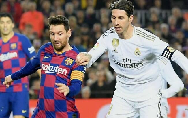 Messi e Sérgio Ramos no clássico espanhol