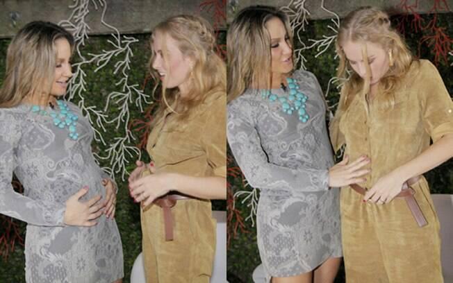 Angélica e Claudia Leitte brincam com as barriguinhas