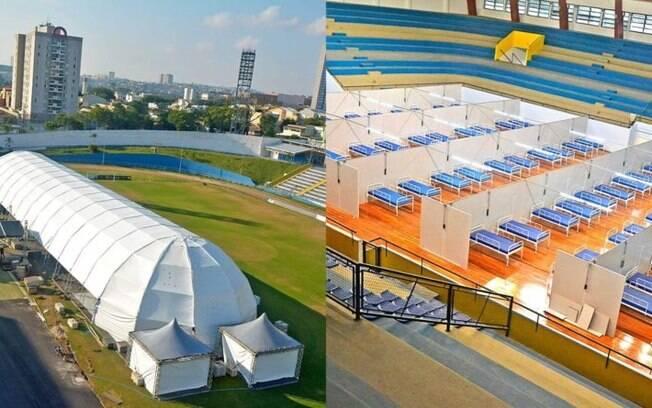 Hospitais de campanha sendo construído no estádio Bruno Daniel, em Santo André