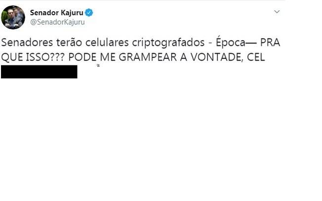 Senador Jorge Kajuru (PATRI-GO) divulgou o próprio número de telefone nas redes sociais