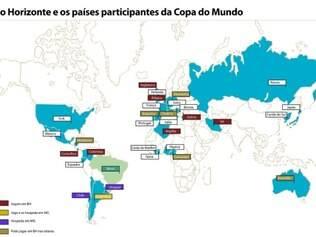 Governo de Minas divulgou mapa das seleções que poderão pisar em solo mineiro durante a Copa do Mundo