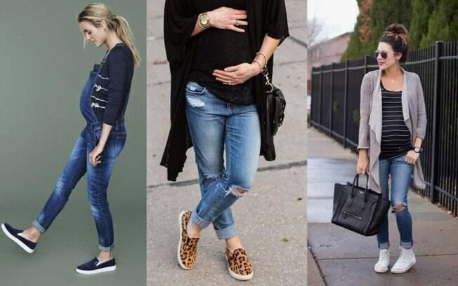 Além da jeans larguinha, o tênis pode ser uma ótima opção para as mamães, já que eles machucam menos os pés