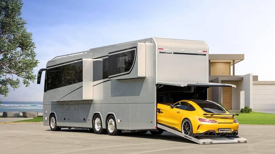 Motorhome de alto luxo tem até garagem para carro e sistema que varia o tamanho dos aposentos para os ocupantes
