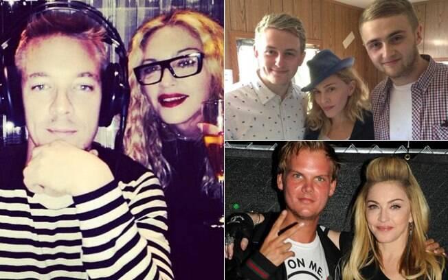 Em sentido horário: Madonna ao lado do produtor americano Diplo; com os britânicos Guy e Howard Lawrence, que formam a dupla Disclosure; e com o produtor e DJ sueco Avici