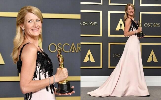 Vencedora de um Oscar, Laura Dern exibiu o prêmio usando um vestido Giorgio Armani
