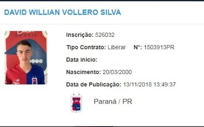 O Paraná publicou a rescisão do contrato de Davi, um dos suspeitos presos no