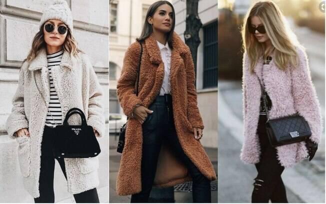 O modelo de casaco feito com pelúcia e ecologicamente correto e traz referências da moda Boho e urbana
