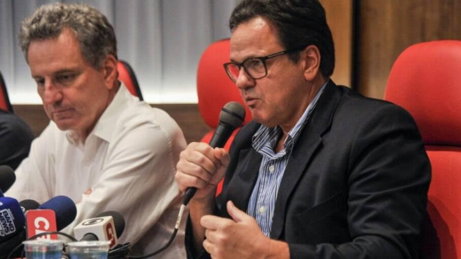 Rodrigo Dunshee ao lado de Rodolfo Landim