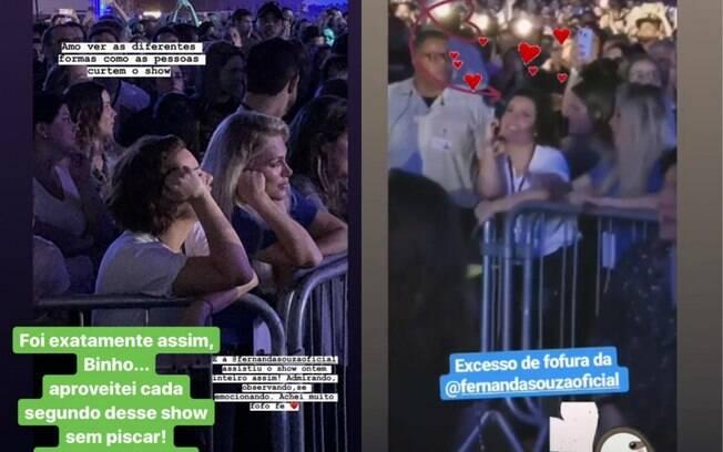 Fernanda Souza curte show de Sandy e Junior