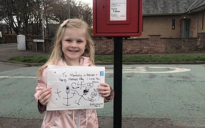Ellen Lennon, de quatro anos, escreveu uma carta para a mãe; funcionário do Royal Mail respondeu e causou comoção