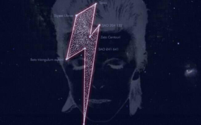 """Desenho da constelação forma um raio igual ao da capa do disco """"Aladdin Sane"""", de 1973"""