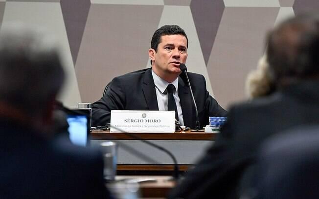 O ministro Sergio Moro fala na Comissão de Constituição e Justiça (CCJ) do Senado
