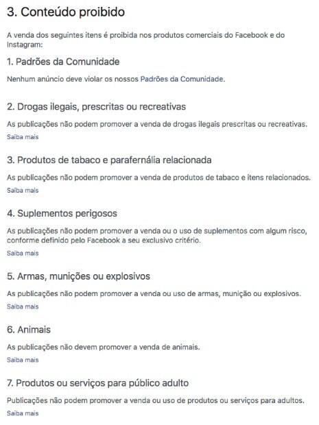 Lista de proibições de itens que podem ser comercializados no Facebook que já contava com armas, munições e drogas ilícitas agora conta também com animais.