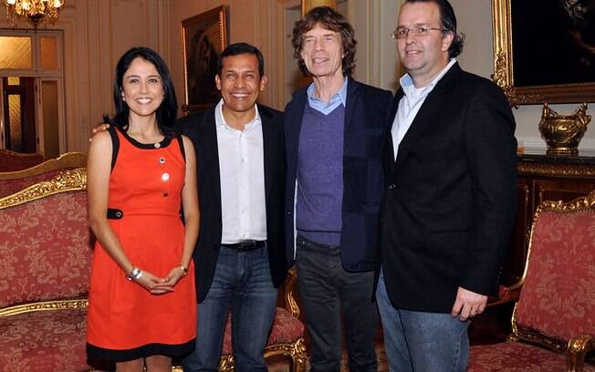 Mick Jagger e a familia do presidente do Peru Ollanta Humala