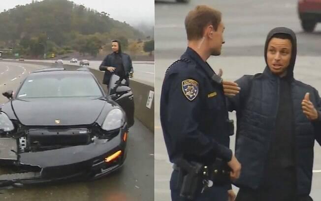 Stephen Curry conversa com policial após acidente de carro em estrada de Oakland