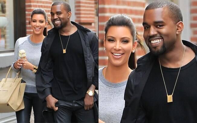 Kim Kardashian e Kanye West: felicidade estampada na cara dos dois