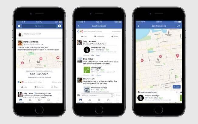Facebook ajuda a organizar as recomendações feitas por seus amigos em um mapa interativo