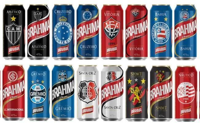 Brahma lançou uma linha de latas colecionáveis de cerveja 350 ml de clubes de futebol do Brasil