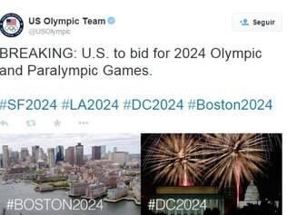 Time dos Estados Unidos anunciou via Twitter a intenção de voltar a sediar os Jogos
