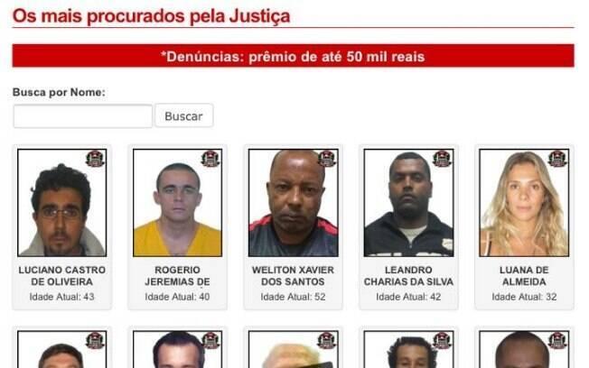 Página da Polícia Civil que mostra os criminosos mais procurados do País conta com a foto de Luana Don