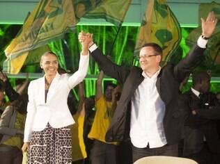Marina Silva e Beto Albuquere (PSB-RS), seu vice na chapa que disputou a presidência