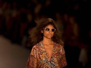 A model wears a creation from the Patricia Viera collection during the Rio Fashion Week, in Rio de Janeiro, Brazil, Tuesday, April 8, 2014. (AP Photo/Silvia Izquierdo)
