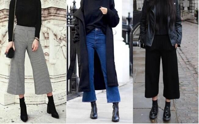 As calças modelo pantacourt podem ser combinadas com botas de cano longo e meias para serem usadas no inverno