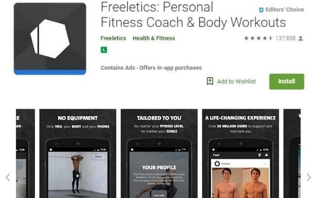 Aplicativos fitness: o Freeletics faz o usuário trabalhar com exercícios de alta intensidade baseados no HIIT