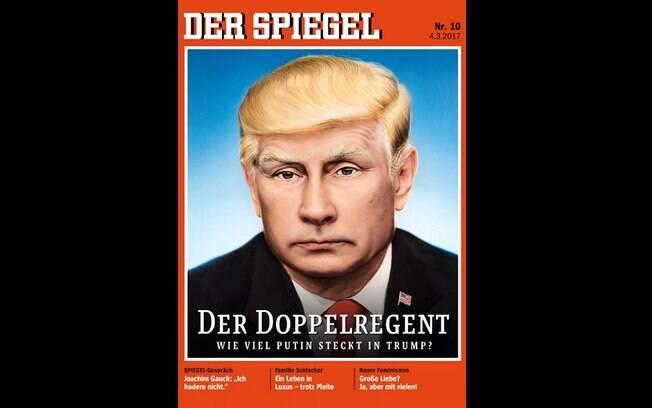 Em revista alemã, Putin aparece com a cabeleira loira de Trump, sob a legenda