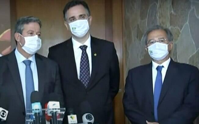 Presidentes da Câmara e Senado, e o ministro Paulo Guedes se reuniram nesta terça-feira