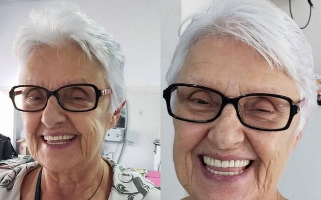 Junia Prado Teixeira começou a tingir aos 41 anos e se arrepende disso; ela tem 73 e assumiu os brancos há dois