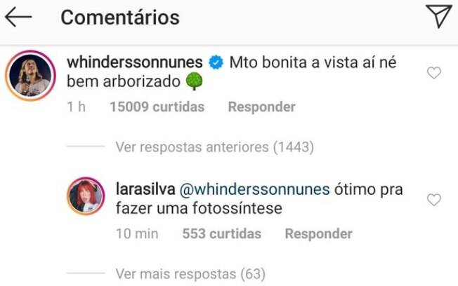 Lara Silva respondeu Whindersson Nunes