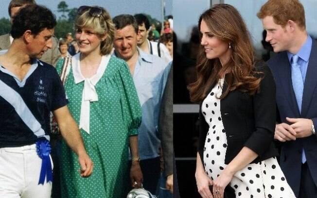Kate Middleton, assim como Lady Di, optou por um vestido com estampa de poá para disfarçar a barriguinha de grávida