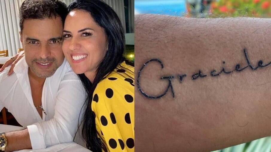 Zezé tatuou o nome de Graciele no braço