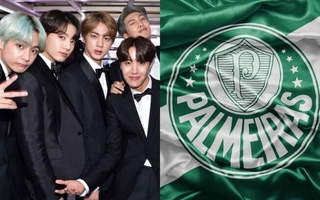 BTS e bandeira do Palmeiras