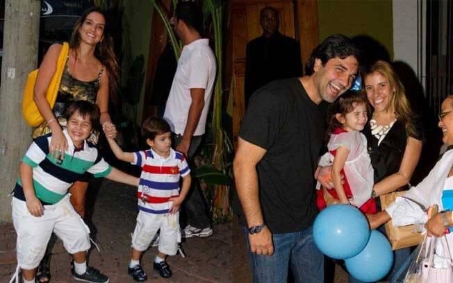 Na esquerda, Luciana Cardoso, mulher de Faustão, com os filhos do casal: Guilherme, de 8 anos, e Pedro, de 3. Na direita, Edu Guedes com a mulher e a filha