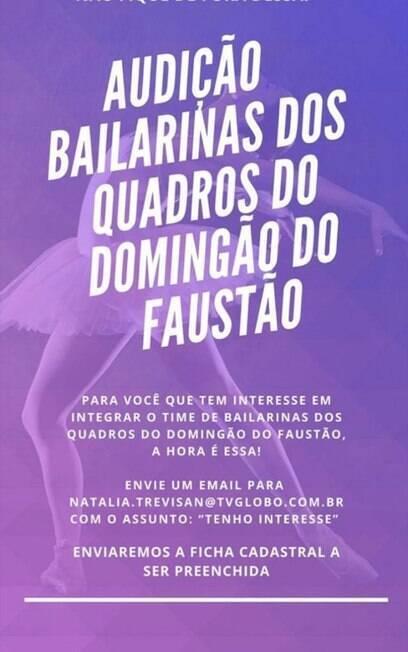 inscrições para bailarinas do Faustão