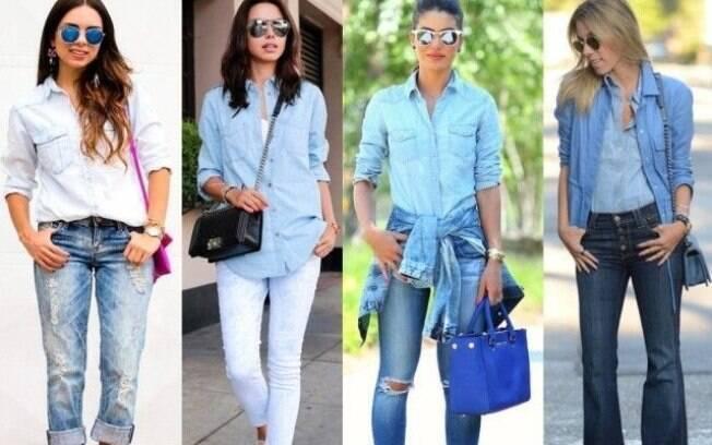 Aposte na mistura dos tons de lavagem na composição do seu look total jeans