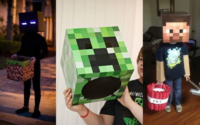 Basta algumas caixas de papelão para os pais e filhos conseguirem reproduzir os personagens do jogo Minecraft