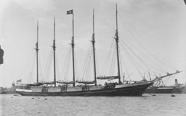 Foto de arquivo da Biblioteca Nacional da Austrália mostra o navio peruano S.V. Inca em 1904 – sete anos antes de seu desaparecimento